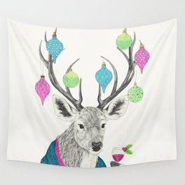 Mr. Deer gets festive  Wall Tapestry