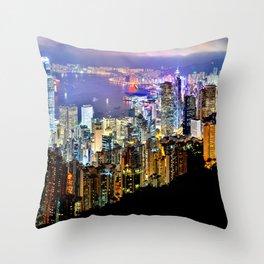 Hong Kong City Skyline Throw Pillow