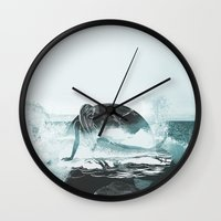 mermaid Wall Clocks featuring Mermaid by fly fly away