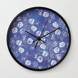 Abstract botanical monstera palm leaf pattern - classic blue Wall Clock