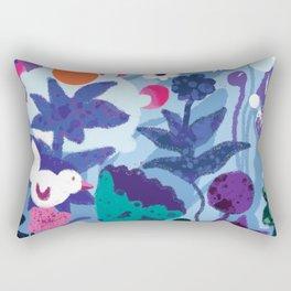 Bird and Dog in Blue Garden Rectangular Pillow