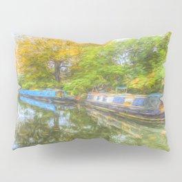Narrow Boat Art Scene Pillow Sham