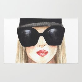 Fashion illustration-Girl with glasses Rug