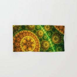 Abstract pattern - Green Brown Yellow Circles Hand & Bath Towel