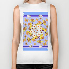 """Joy Of Spring"" Daffodils in Blue Shades Biker Tank"