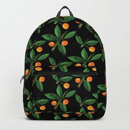 Black green orange watercolor berries leaves pattern Backpack
