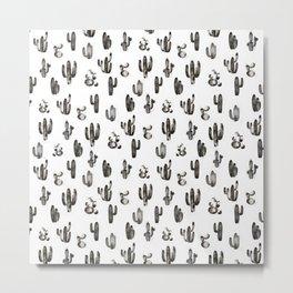 Black Cactus Garden Pattern Metal Print