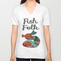 folk V-neck T-shirts featuring Fish Folk by BohemianBound