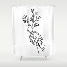 Skeleton Hand Holding Wildflowers Design Shower Curtain
