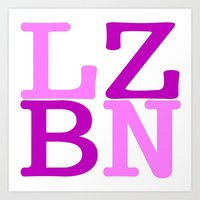 lesbian Art Prints featuring LZBN Lesbian by SLANTEDmind.com