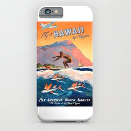 1947 Fly To Hawaii By Clipper Pan American Travel Poster iPhone Case