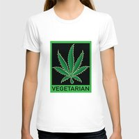 vegetarian T-shirts featuring Vegetarian Marijuana Leaf by BudProducts.us