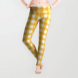 Orange Yellow Checkered Pattern Leggings