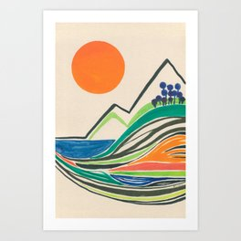 Landscape in many colours and lines Art Print
