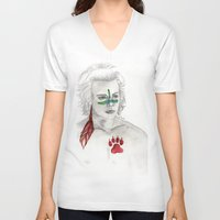 indian V-neck T-shirts featuring Indian by AidenArt