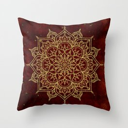 Deep Red & Gold Mandala Throw Pillow