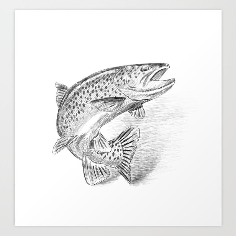 Fish pencil drawing art print