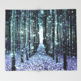 Magical Forest Lavender Aqua/Teal Throw Blanket