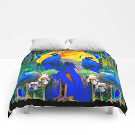 IRIS ART BLUE PEACOCKS & FULL GOLDEN MOON Comforters