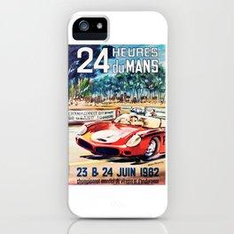 Le Mans 1962 vintage poster, Le Mans t-shirt, Le Mans poster iPhone Case