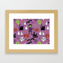 Cute Frankenstein and friends purple #halloween Framed Art Print