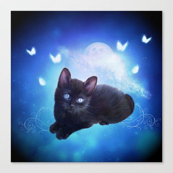 Cute little black kitten Canvas Print