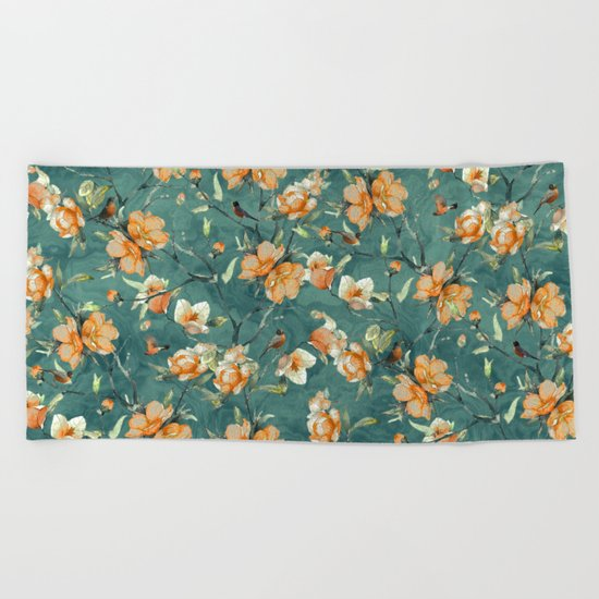 Flowers & Birds Beach Towel