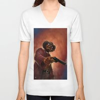 django V-neck T-shirts featuring Django by Andrea Mangiri