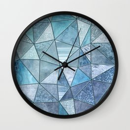 Blue Aqua Glamour Shiny Precious Patchwork Wall Clock
