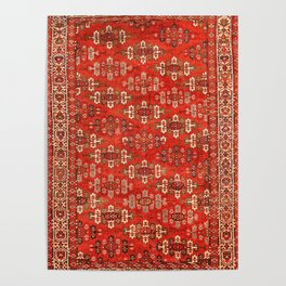 Southwest Shapes I // Bright Colorful Red Orange Green Creme Ornate Southwestern Tuscan Rug Pattern Poster