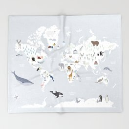 Animal Map of the world Throw Blanket