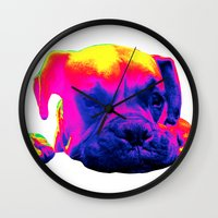 boxer Wall Clocks featuring Boxer by Ty McKie Creations