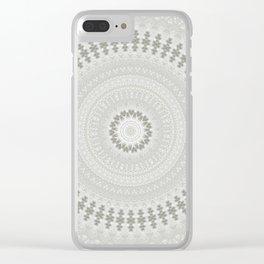 Lace Stone Mandala Design Clear iPhone Case