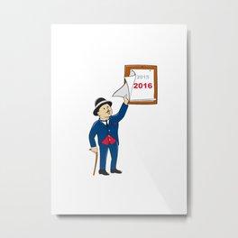 Bowler Hat Man Peeling 2016 Calendar Metal Print