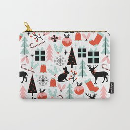 Christmas ornaments minimal holly reindeer candy cane christmas tree pattern print Carry-All Pouch