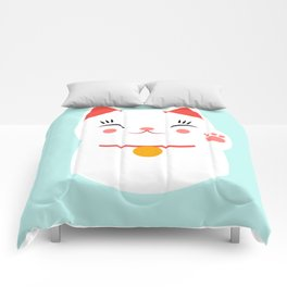 Lucky happy Japanese cat Comforters
