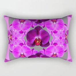 Dark Purple Moth  Orchids & Pink Orchids Art Rectangular Pillow