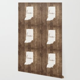 Indiana is Home - White on Wood Wallpaper