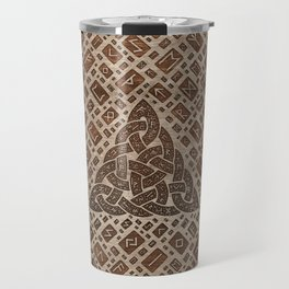 Triquetra and Runic Alphabet Wood and Gold #1 Travel Mug