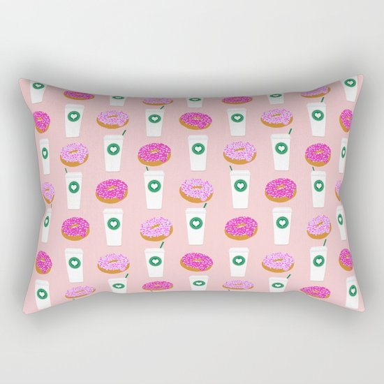 Coffee and donuts cute latte breakfast food pattern print pastel pink girly coffee cell phone cases Rectangular Pillow