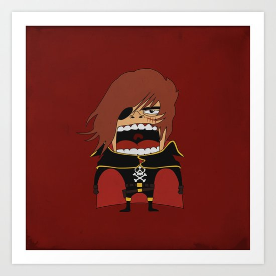 Screaming Captain Harlock Art Print