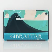 travel poster iPad Cases featuring Gibraltar vintage Travel poster by Nick's Emporium Gallery