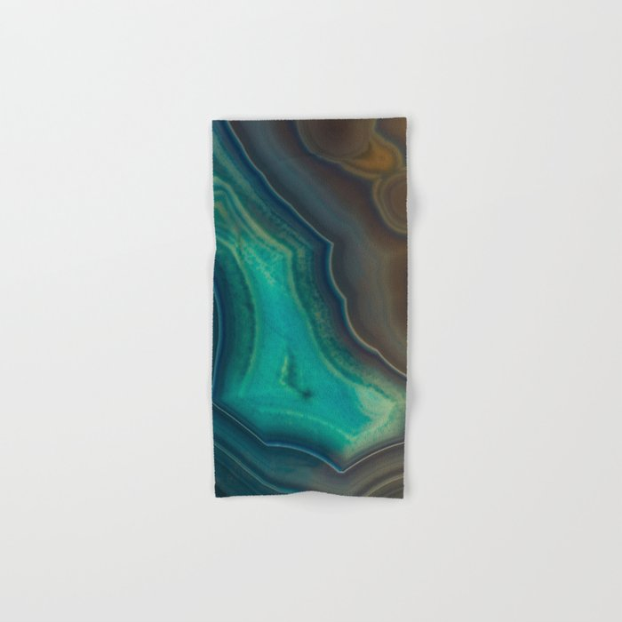 Lake Like Teal & Brown Agate Hand & Bath Towel