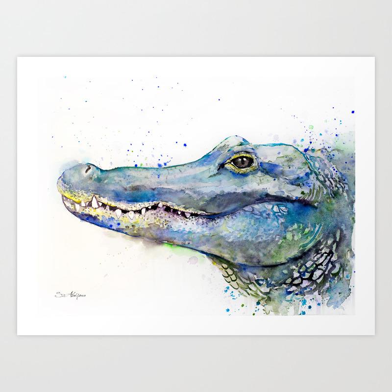 alligator crocodile drawing and water art prints society6