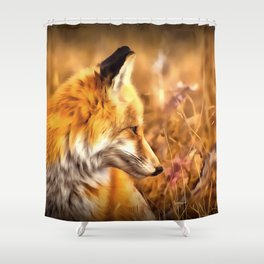 red fox acrylic four reacstd Shower Curtain
