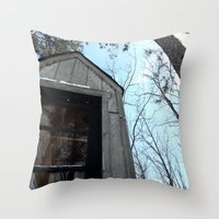 fallout Throw Pillows featuring Grizzly Fallout by Keeto