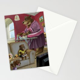 cartoon bear family in their home front room watching tv Stationery Cards