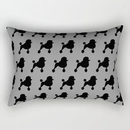 Black Fancy Standard Poodle Silhouette Rectangular Pillow