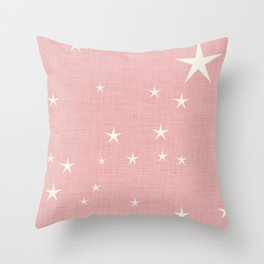 Pink star with fabric texture - narwhal collection Throw Pillow