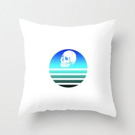 Retro Skull 8 Throw Pillow